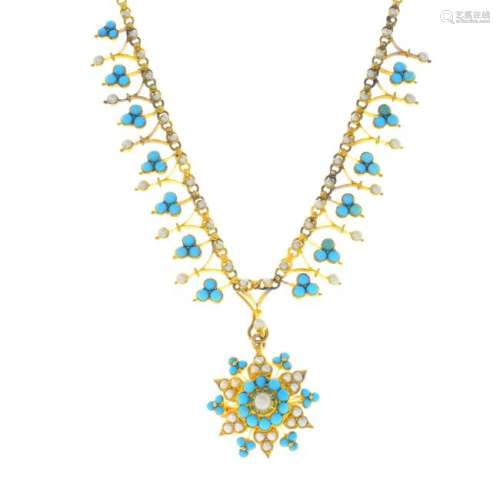 A late Victorian 18ct gold turquoise and split pearl