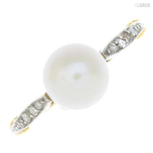 A mid 20th century 18ct gold pearl and diamond ring.