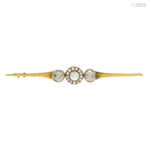 A late 19th century gold diamond and split pearl