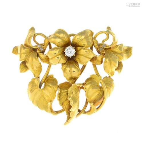 An early 20th century 18ct gold diamond brooch.