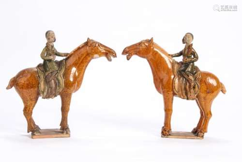EARLY PAIR OF CHINESE CERAMIC FIGURINES