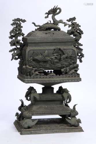 LARGE (19th c) CHINESE BRONZE TEMPLE CENSER