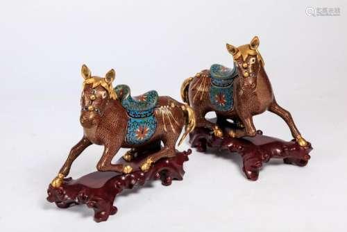 (2) CLOISONNE HORSE-FORM CENSORS