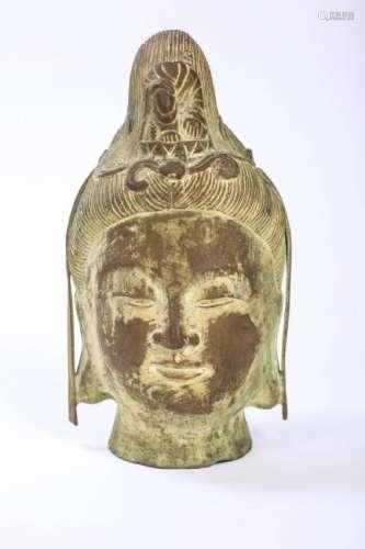 CHINESE BRONZE HEAD OF GUANYIN