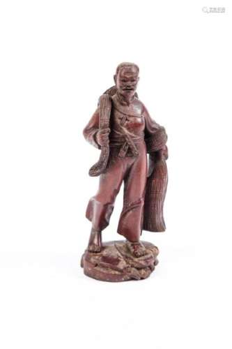 CHINESE CARVED WOODEN FISHERMAN with NET