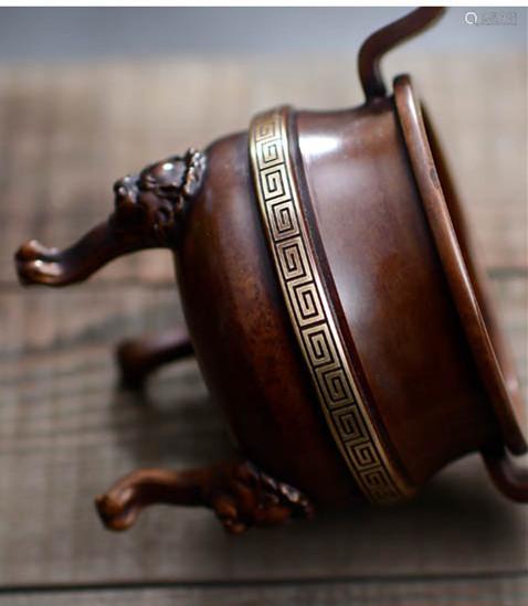 狮足双耳铜炉香炉(配防火棉与沉香盘香)