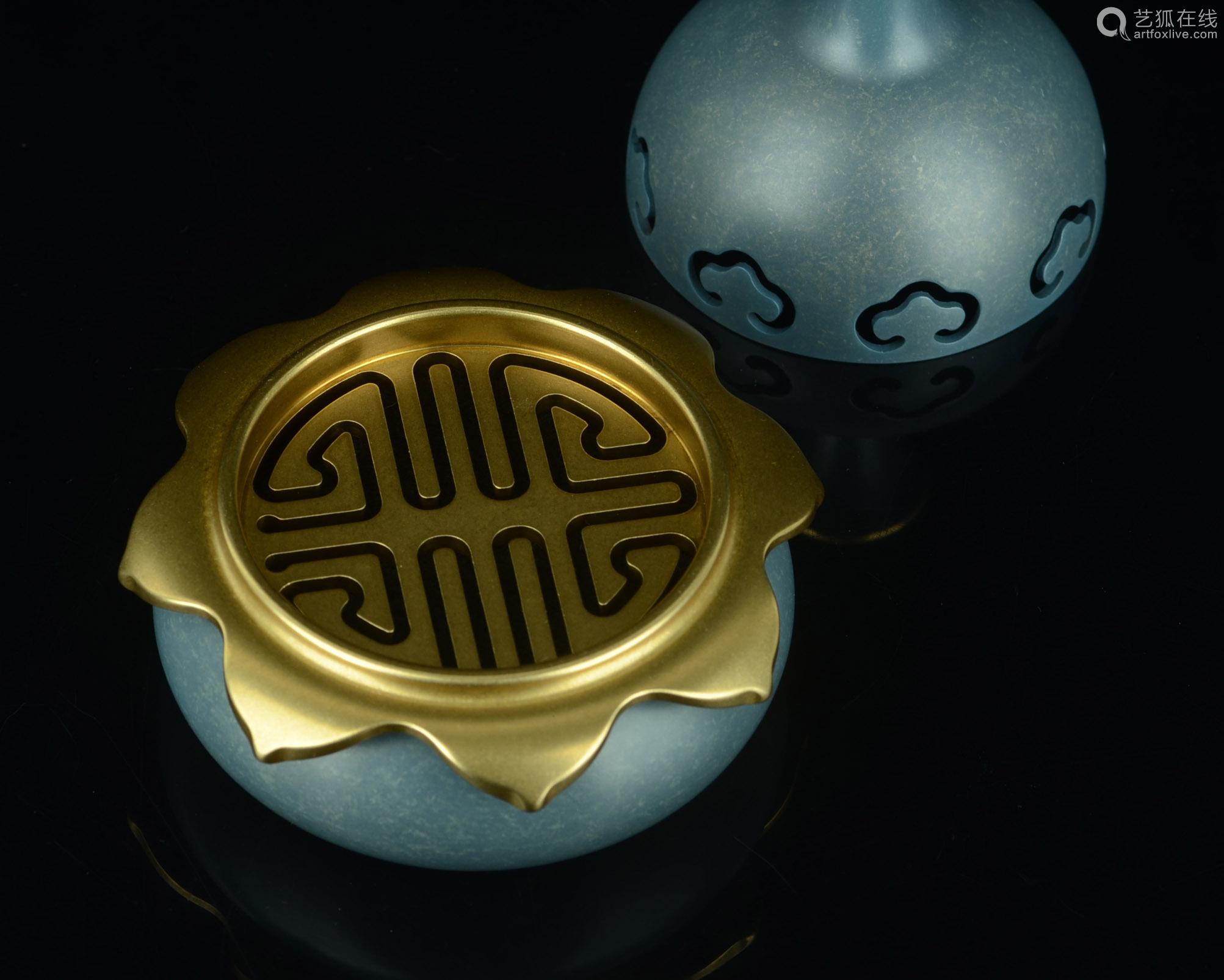 铜香炉(配防火棉与沉香盘香)