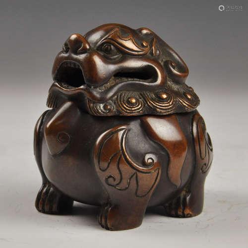 貔貅铜炉香炉(配防火棉与沉香盘香)