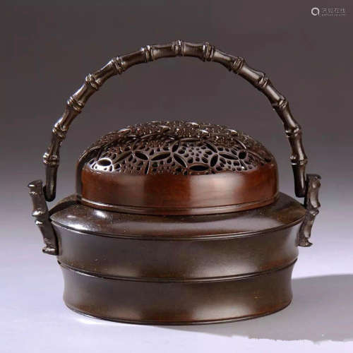 竹节提炉铜炉香炉(配防火棉与沉香盘香)