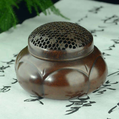 铜炉香炉(配防火棉与沉香盘香)
