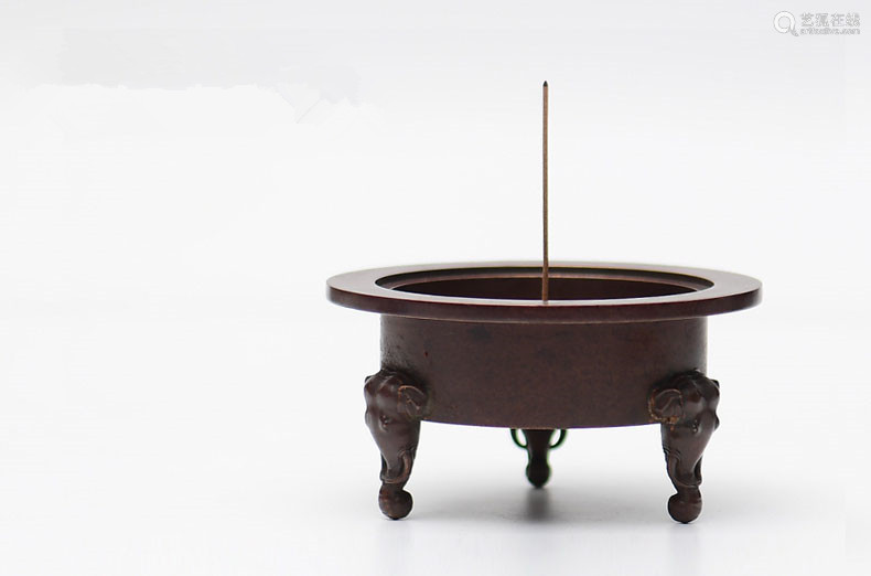 象首三足铜炉香炉(配防火棉与沉香盘香)