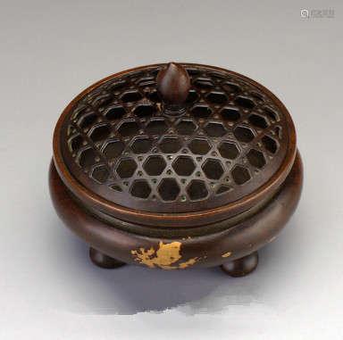 点金铜炉香炉(配防火棉与沉香盘香)