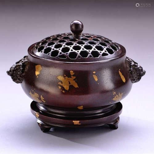 狮头点金炉铜炉香炉(配防火棉与沉香盘香)