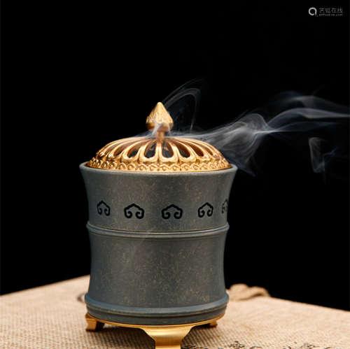 铜香炉音乐香盒(配沉香盘香)