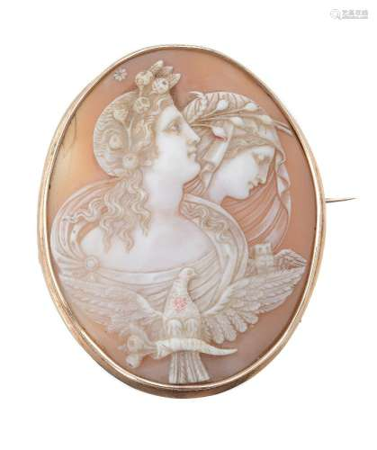 A late Victorian shell cameo brooch