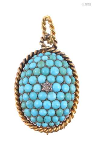 A Victorian turquoise and diamond pendant