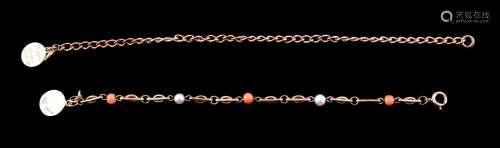 ϒ A 1950s 9 carat gold, coral and cultured pearl bracelet