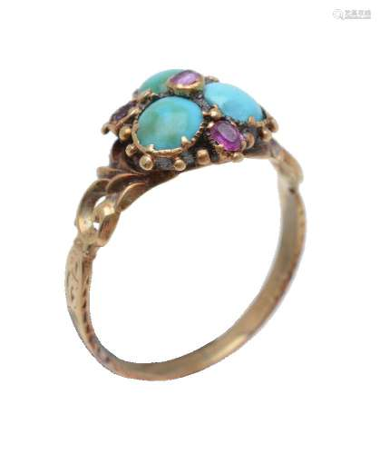 An 1830s turquoise and ruby ring