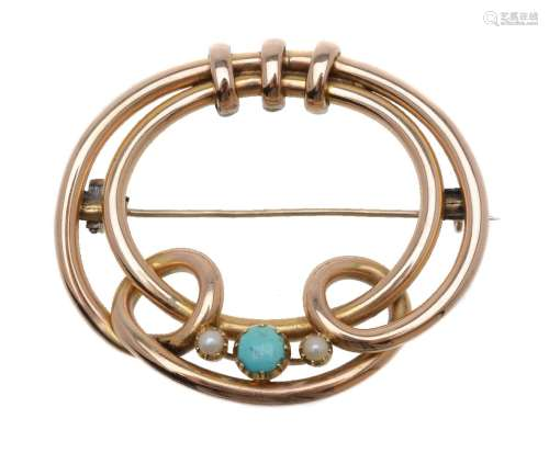 An early 20th century hooped turquoise and half pearl brooch