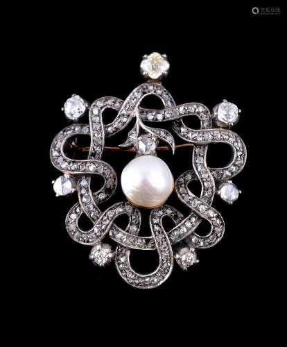 A diamond, coloured diamond and mabé pearl brooch