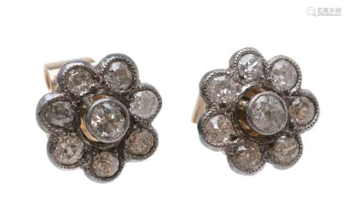 A pair of diamond cluster ear studs