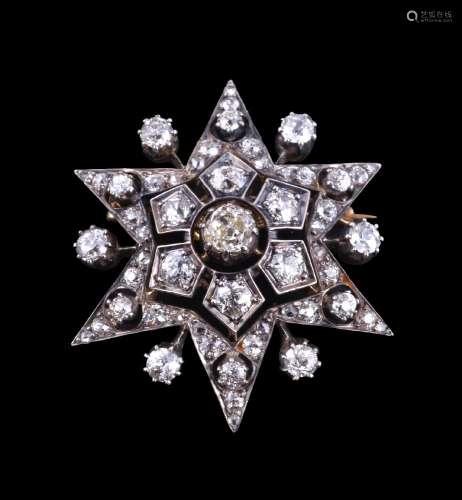 A Victorian diamond star brooch