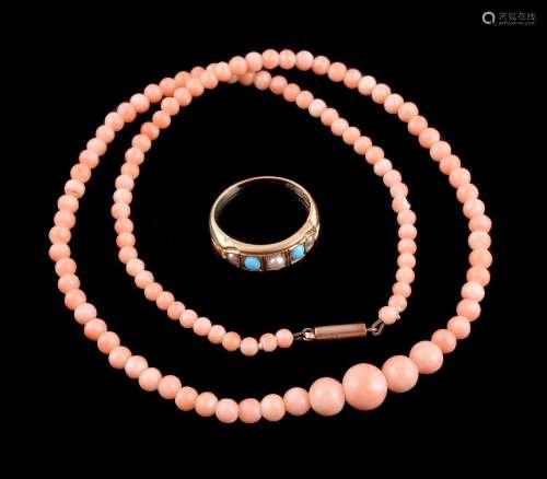 ϒ An Edwardian 18 carat gold pearl and turquoise ring