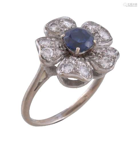 A mid 20th century sapphire and diamond flowerhead dress ring