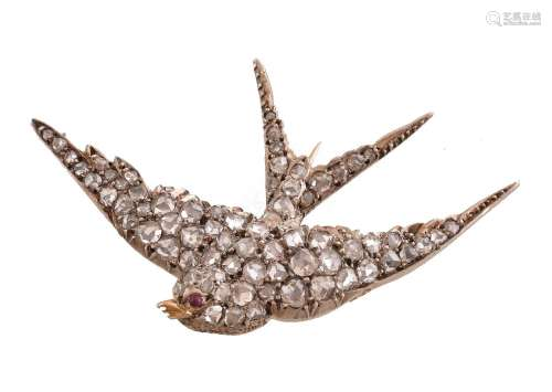 A late Victorian diamond and ruby swallow brooch