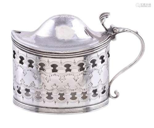 A George III silver straight-sided oval mustard pot by Peter & Ann Bateman