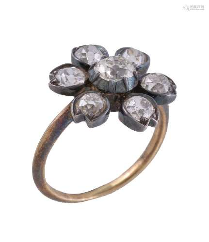 A Victorian and later flower head cluster ring