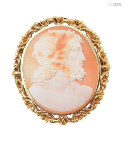 A Victorian shell cameo of Zeus