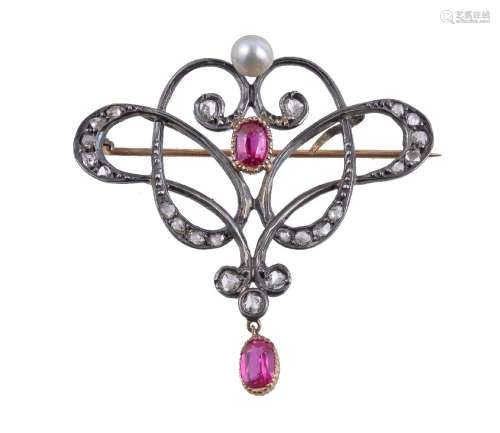 A synthetic ruby, diamond and pearl brooch