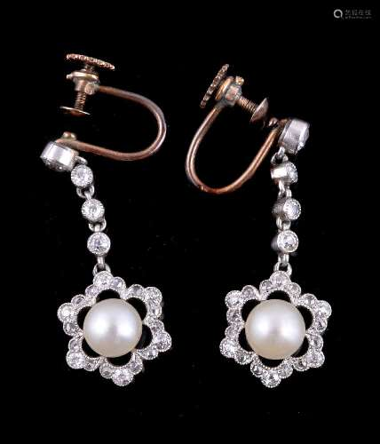 A pair of early 20th century button pearl and diamond ear pendants