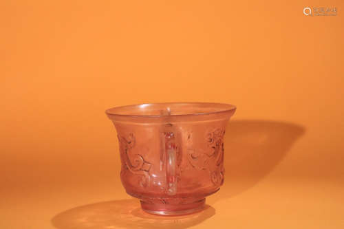 17-19TH CENTURY, AN IMPERIAL OLD TIBETAN DOUBLE-EAR COLOURED GLASS CENSER, QING DYNASTY