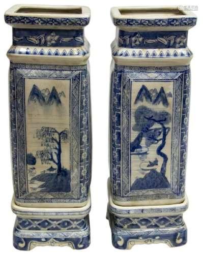 (2) CHINESE BLUE & WHITE PORCELAIN SQUARE VASES