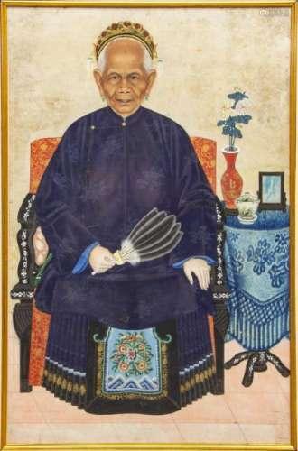 FRAMED CHINESE ANCESTOR PORTRAIT, SHANGHAI