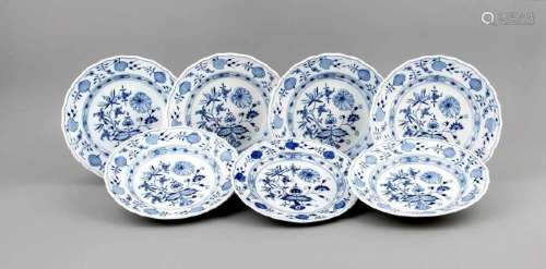Seven plates, Meissen, marks after 1934, 3rd quality,