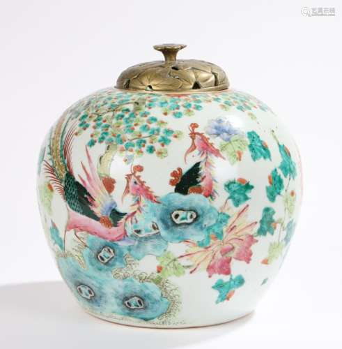 18th Century Chinese vase, of ovoid form with enamel decoration depicting birds and butterflies in a