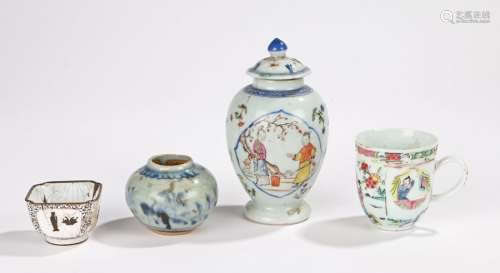 Jiaqing Chinese enamel jar, the lidded jar of baluster shape decorated in enamels with figures in