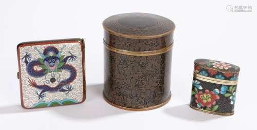 Chinese cloisonne objects, to include a cigarette case, a canister and lid and another cannister