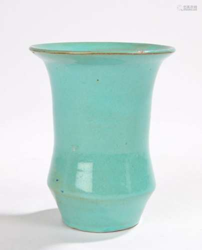 Korean Yi dynsatry Celadon vase, the beaker shaped vase with flared lip and three spur marks to