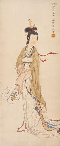 陈少梅 纨扇仕女 设色纸本 立轴