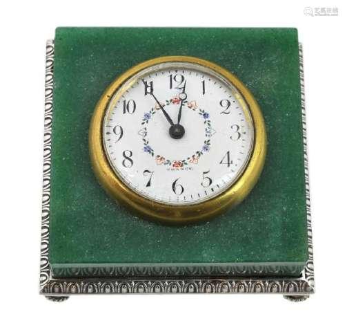 French Dreyfous Aventurine Silver Desk Clock