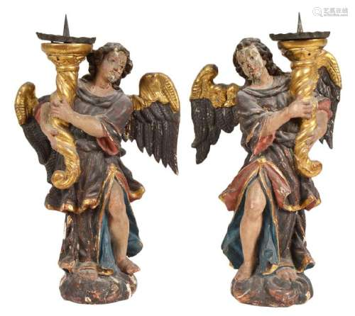 Pr. 18th C. Italian Carved & Gilded Angel Prickets
