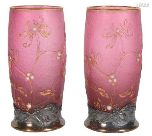Pair of Daum Nancy Silver Mounted Cameo Vases