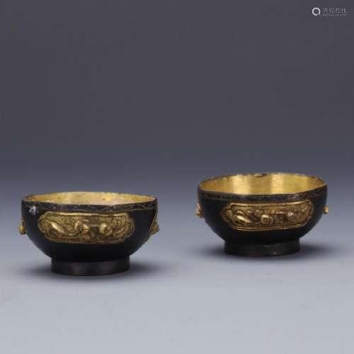 A pair partial gilt bronze bowls