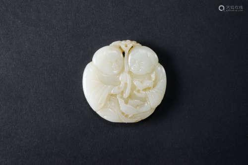 玉雕和合二僊紋掛件