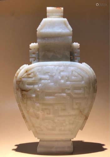 A TAOTIE BEAST PATTERN DOUBLE-EAR BOTTLE DESIGN HETIAN JADE ORNAMENT