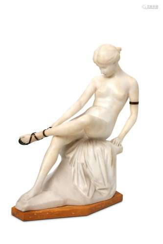 ERNST SEGER, AN ALABASTER AND BRONZE FIGURE OF A SEATED NUDE LACING HER SANDLE.